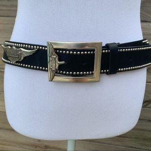 Black Leather Harley-Davidson Studded Belt